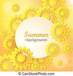 花, 抽象的, 挨拶, 黄色, card.