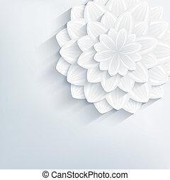 花, 抽象的, 灰色, 背景, 花, 3d