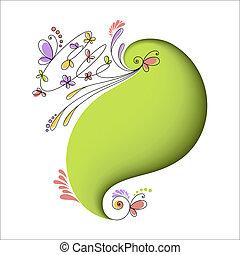 花, 抽象的, 要素, 緑の背景