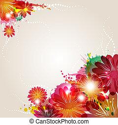 花, 抽象的, 要素, 背景, 美しさ