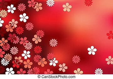 花, 抽象的, 赤い背景