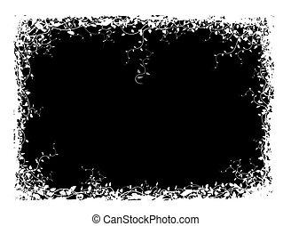 花, 抽象的, 黒, フレーム, 背景