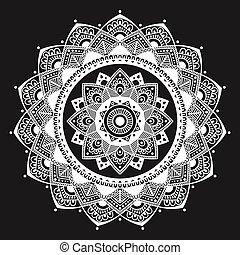 花, 抽象的, henna, シンボル。, イスラム教, mandala., indian, medallion.,...