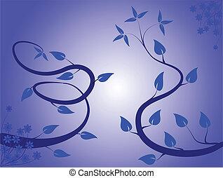 花, 抽象的, ilustratio, 背景