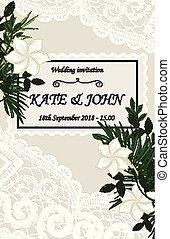 花, 招待, レース, 結婚式