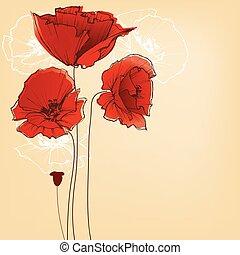 花, 挨拶, デザイン, 背景, ケシ, カード