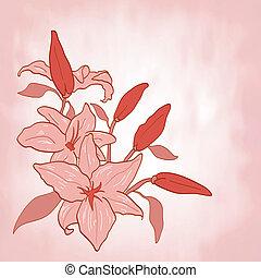 花, 挨拶, ベクトル, 招待, ユリ, ∥あるいは∥, カード