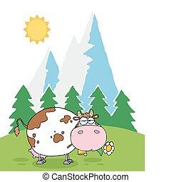 花, 搾乳場, 山, 牛