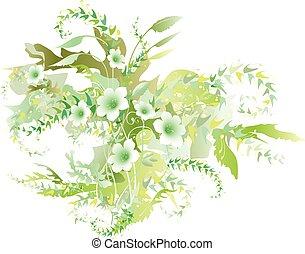 花, 新緑の草木, デリケートである