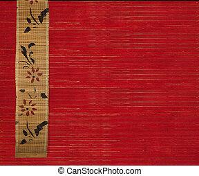 花, 旗幟, 背景, 竹子