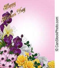 花, 日, 背景, 母