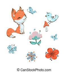 花, 春天, 蝴蝶, 蘑菇, 狐狸, 漂亮, 收集, 鸟