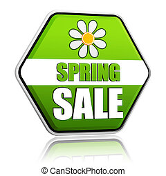 花, 春, セール, ラベル, 緑, 六角形