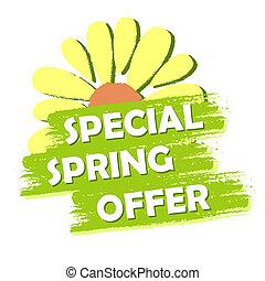 花, 春, セール, ラベル, 緑, 引かれる, 特別