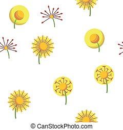 花, 春, タンポポ, seamless, ベクトル, パターン