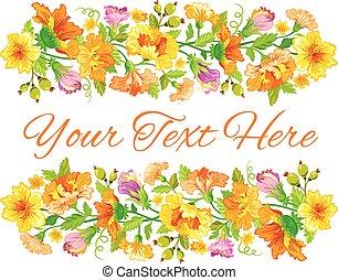 花, 春, デザイン, カード