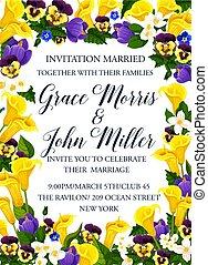 花, 春, フレーム, 結婚式の招待, ボーダー