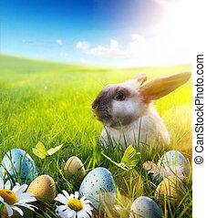 花, 春, 卵, 4 月, bunny;, うさぎ, 赤ん坊, イースター