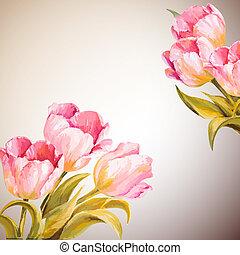 花, 春, 招待, テンプレート