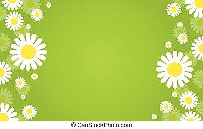 花, 春, 緑の背景, ベクトル