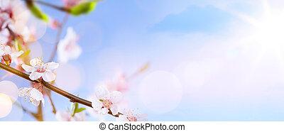 花, 春, 背景, 芸術