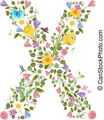 花, 春, 華やか, 手紙, 資本, 壷, consisting