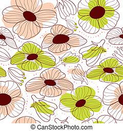 花, 春, seamless, パターン