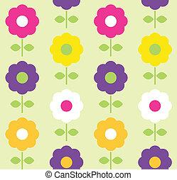 花, 春, seamless, ベクトル, デザイン, パターン