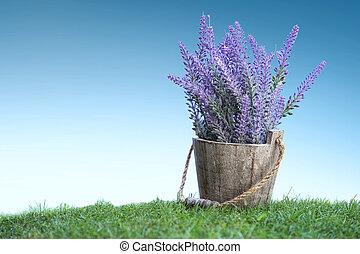 花, 木製である, ポット, 緑, すみれ, 草, 束