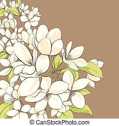 花, 木, アップル, 背景