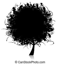 花, 木, シルエット, 黒