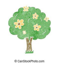 花, 木, レトロ, 漫画