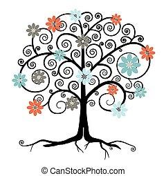 花, 木, 隔離された, ベクトル, 背景, 白