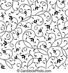 花, 東洋人, 黒, 隔離された, seamless, 背景