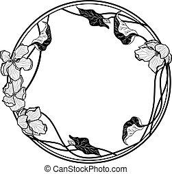 花, 框架, 矢量, 蘋果, 輪