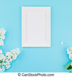 花, 框架, 空白, 白色, mockup