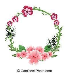 花, 框架, 花冠, 裝飾華麗, 植物, 輪