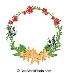 花, 框架, 花冠, 黃色, 華麗, 輪
