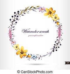 花, 水彩画, 花輪