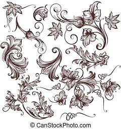 花, 渦巻, コレクション, ベクトル, 手, 引かれる