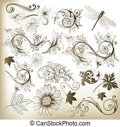 花, 渦巻, ベクトル, e, コレクション