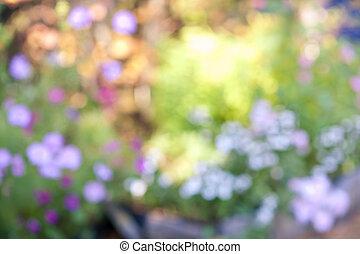 花, 焦点がぼけている, 庭