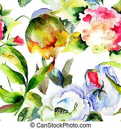 花, 牆紙, seamless, 荒野