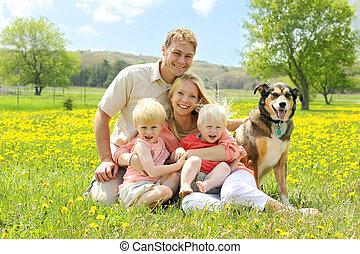 花, 牧草地, 家族 犬, 肖像画, 幸せ