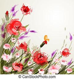 花, 牧草地, 背景