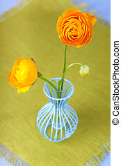 花, 瓶, 蓝色, ranunculus, 黄色