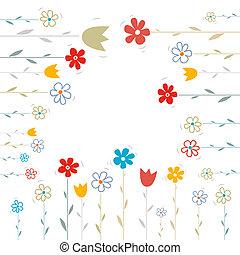 花, 白, ベクトル, 背景, イラスト