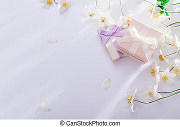 花, 禮物, 空間, 背景。, 箱子, 白色, 模仿