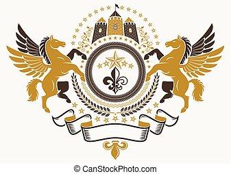 花, 紋章, 中世, 作成される, コート, heraldic, イラスト, 腕, ベクトル, 型, 優美である, ユリ, castle., pegasus