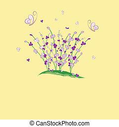 花, 紫色, 挨拶, 夏, カード, buttefly